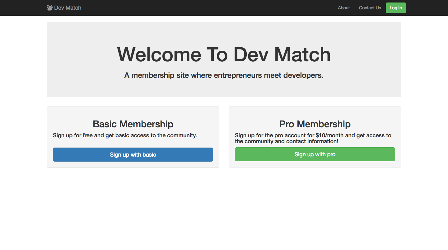 DevMatch Front Page